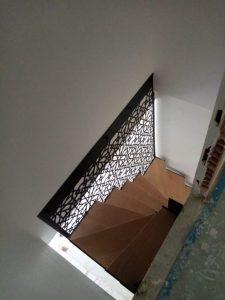 escalier tournant acier bois